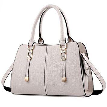 OVERMAL Women Shoulder Bag Crossbody Tote Leather Handbag Purse (Beige)