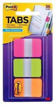 Post-it® Tabs, 1 inch Solid, Pink, Green, Orange, 22/Color, 66/Dispenser