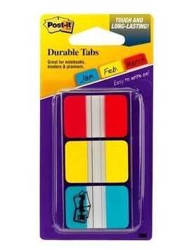 Post-it® Tabs, 1 inch Solid, Red, Yellow, Blue, 22 Tabs/Color, 66/Dispenser