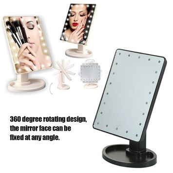 22 LED Lights Makeup Mirror,Rotatable Tabletop Cosmetic Mirror with Touch Screen Lighted