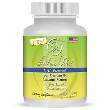 Mother's Select DHA For Prenatal and Postnatal - Provides Essential One A Day Fatty Acids for Pregnant, Breastfeeding and Lactating Mothers - EPA Fish Oil, 60 Softgels, Liquid Capsules - Lemon Flavor