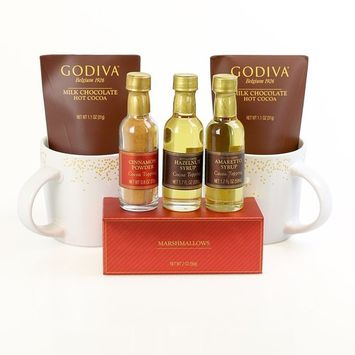 Godiva 'Cocoa Indulgence' Hot Chocolate Lover's Gift Set by Thoughtfully | Contains 2 Reusable Mugs, Godiva Milk Chocolate Hot Cocoa, Hazelnut Syrup, Amaretto Syrup, Cinnamon Powder & Marshmallows