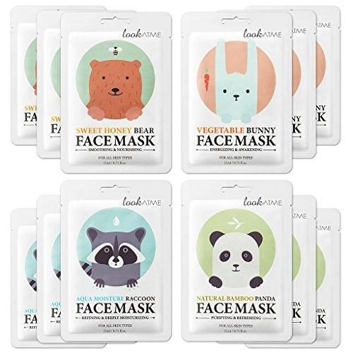 Lookatme Animal face mask - 12 Premium Cute Face Sheet Masks For Purifying, Energizing, Smoothing, Moisturizing. Awesome Korean skin care