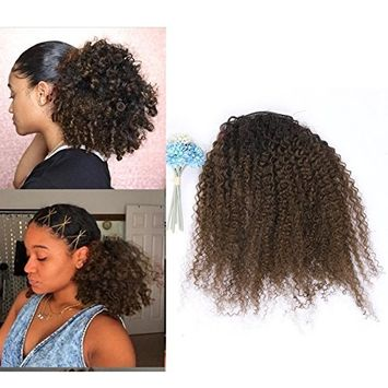 Lacerhair Afro Kinky Curly Human Hair Ponytail Hair Extensions 4B 4C Coily Natural Remy Curly Clip in Ponytail Extension One Piece For Black Women 10-20 inch
