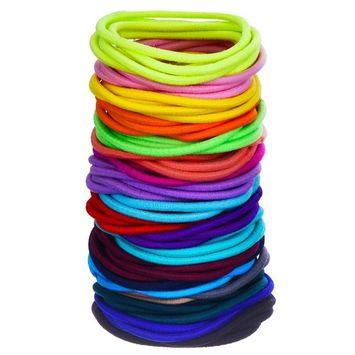 eBoot 100 Count Elastic Hair Ties Ponytail Holders No Metal Multicolor Girls Hair Elastics