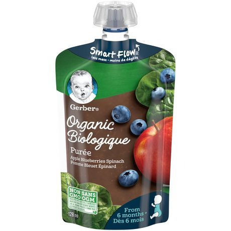 Gerber Organic Pur E, Apple Blueberries Spinach, Baby Food