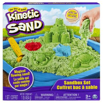 Kinetic Sand, Sandbox Playset with 1lb of Green Kinetic Sand and 3 Molds, for Ages 3 and Up