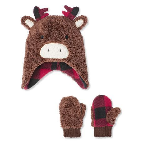 Canadiana Toddlers' Unisex Critter Beanie And Mitts 2-Piece Plush Set