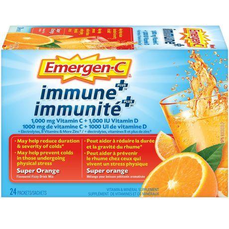 Emergen-C Emergen-C Super Orange Immune+ (24 Count), 1000Mg Vitamin C/B Vitamins Mineral Supplement 12 Count
