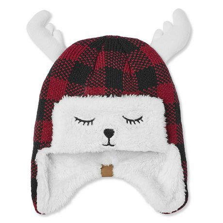 Canadiana Baby Boys' Buffalo Check Trapper Hat With Antlers