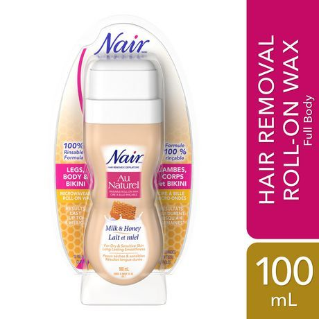 Nair Au Naturel Roll-On Sugar Wax for Dry & Sensitive Skin with Milk and Honey