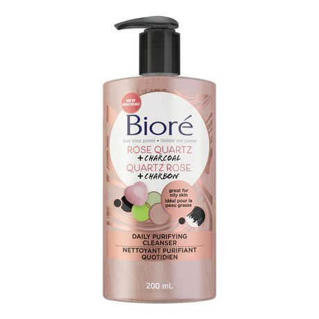 Bior Biore Rose Quartz + Charcoal Daily Purifying Cleanser 200Ml