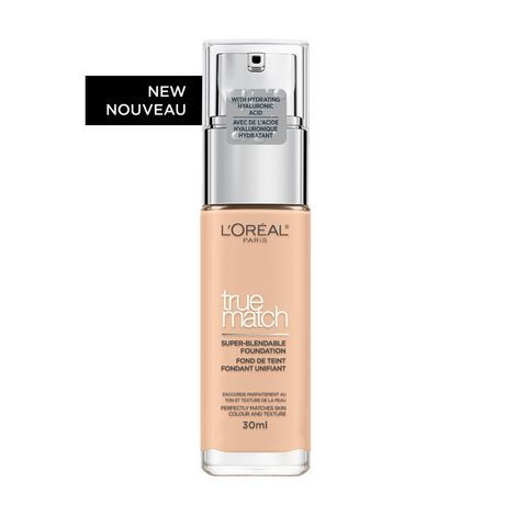 L'or Al Paris True Match Super-Blendable Foundation, Skincare Infused With Hyaluronic Acid & Moisturizing Care, 0.75N Pe 0.75N Pearl