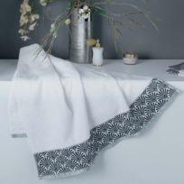 Cdaffaires Drap de douche 70 x 130 cm absorbant goldy Blanc/argent