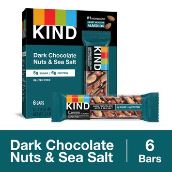 KIND Healthy Snack Bar, Dark Chocolate Nuts & Sea Salt, 5g Sugar | 6g Protein, Gluten Free Bars