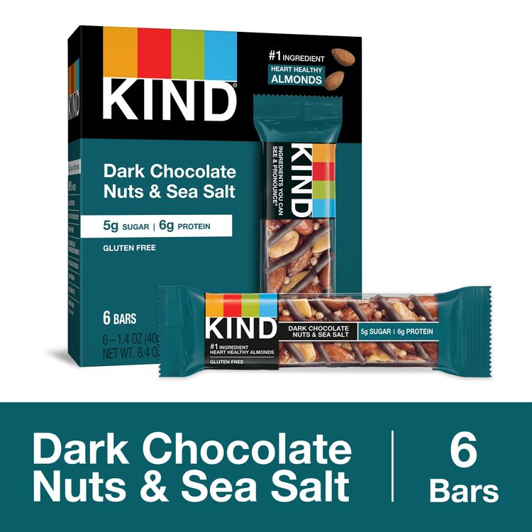 KIND Healthy Snack Bar, Dark Chocolate Nuts & Sea Salt, 5g Sugar   6g Protein, Gluten Free Bars