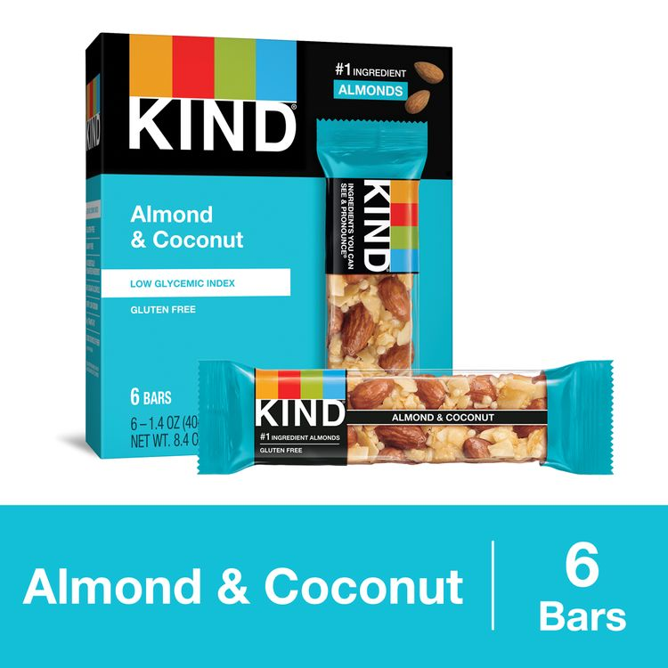 KIND Almond & Coconut Bars, Low Glycemic Index, Gluten Free Bars, 1.4 OZ Bars