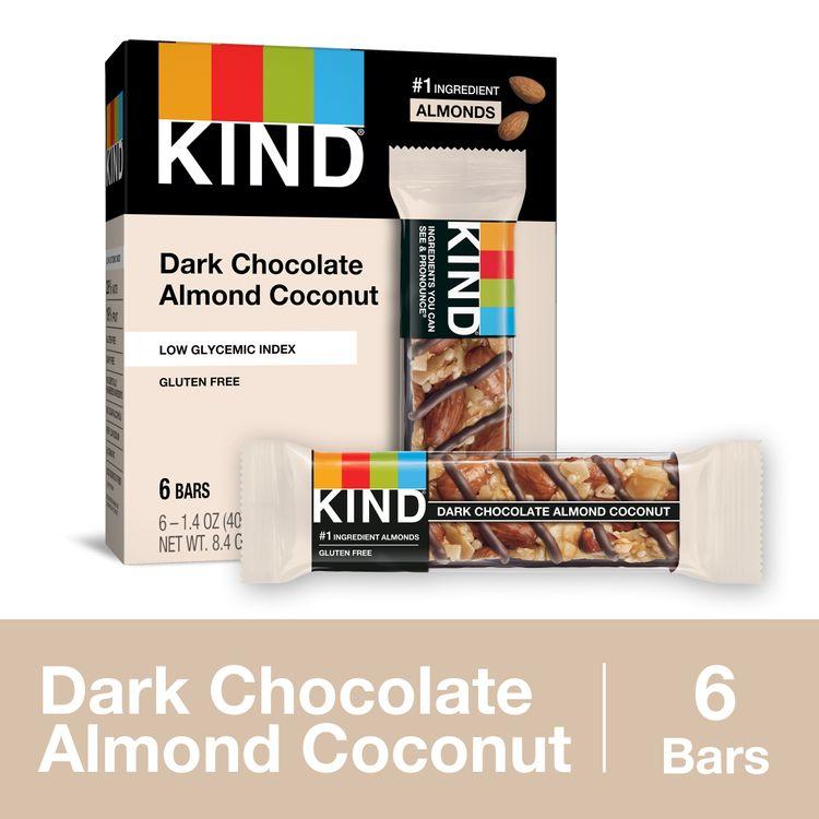 KIND Dark Chocolate Almond Coconut Bars, Low Glycemic Index, Gluten Free Bars, 1.4 Oz.
