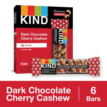 KIND Healthy Snack Bar, Dark Chocolate Cherry Cashew, 4g Protein, Gluten Free Bars