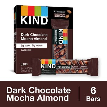 KIND Healthy Snack Bar, Dark Chocolate Mocha Almond, 5g Sugar   5g Protein, Gluten Free Bars, 1.4 Oz.