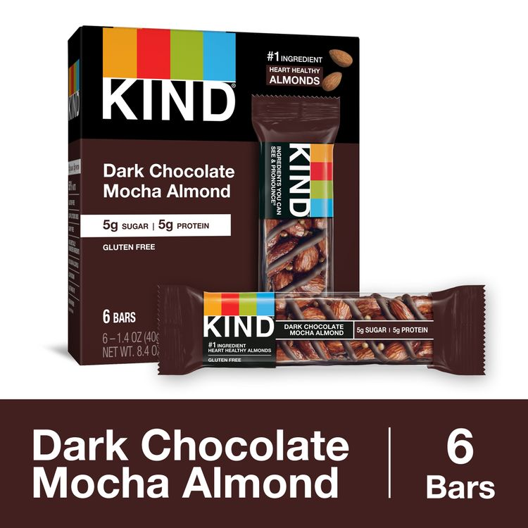 KIND Healthy Snack Bar, Dark Chocolate Mocha Almond, 5g Sugar | 5g Protein, Gluten Free Bars, 1.4 Oz.