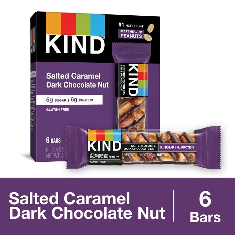KIND Healthy Snack Bar, Salted Caramel Dark Chocolate Nut, 5g Sugar | 6g Protein, Gluten Free Bars, 1.4 Oz.
