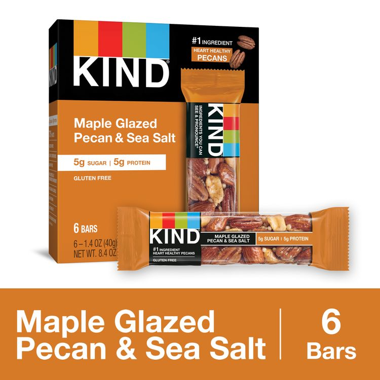 KIND Healthy Snack Bar, Maple Glazed Pecan and Sea Salt, 5g Sugar | 5g Protein, Gluten Free Bars, 1.4 Oz.