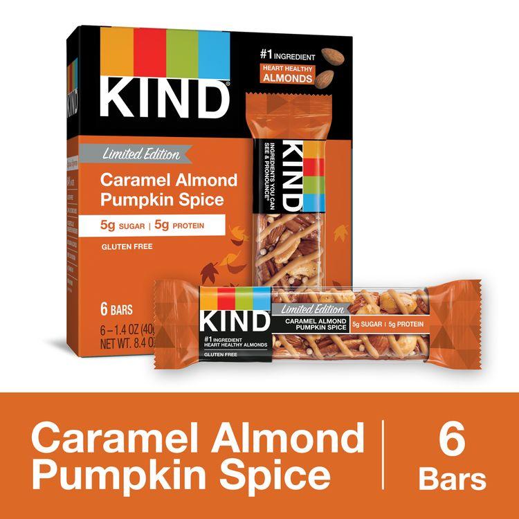KIND Healthy Snack Bar, Caramel Almond Pumpkin Spice, 5g Protein | 5g Sugar, Gluten Free Bars, 1.4 OZ