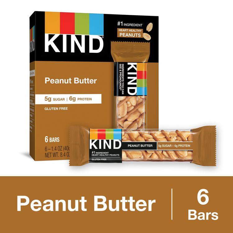KIND Peanut Butter Bars, 5g Sugar|6g Protein, Gluten Free Bars, 1.4 Oz.