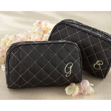 Kate Aspen Cosmetic Couture Quilted Monogrammed Make-Up Bag, Letter D