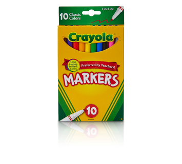 Crayola Fine Line Markers, Classic Colors, 10 Count