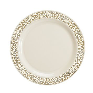 Disposable Plastic Plates | Premium Quality Ivory & Gold Dinnerware With Golden Lace Rim | Excellent for Weddings, Baby & Bridal Showers, Parties & More | Heavy Duty 9 Inches Plate | 40 Count