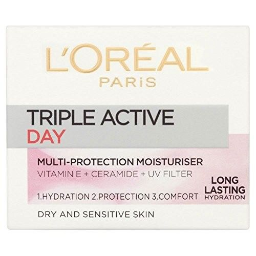 L'Oréal Paris Dermo-Expertise Triple Active Day Multi-Protection Cream Dry-Sensitive Skin (50ml) - Pack of 2