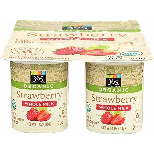 365 Everyday Value, Organic Whole Milk Yogurt, Strawberry (6 - 4 oz cups), 24 oz
