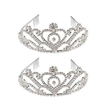 Exacoo 2 Pack Tiara Princess Tiara Crown Wedding Bridal Crown Crystal Headband Rhinestone Tiara Crown Silver