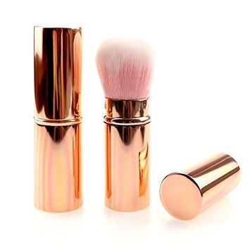 Make up Brush Retractable Rosegold/Gradient/Black/Pink Blush Brushes Soft Mineral Foundation Powder Brushes (roseg