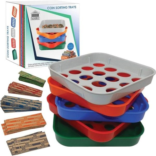 Nadex Coins Quick-Sort Coin Sorting Tray - Counts - Sorts - coins/minBlue, Green, Orange, Red, Gray