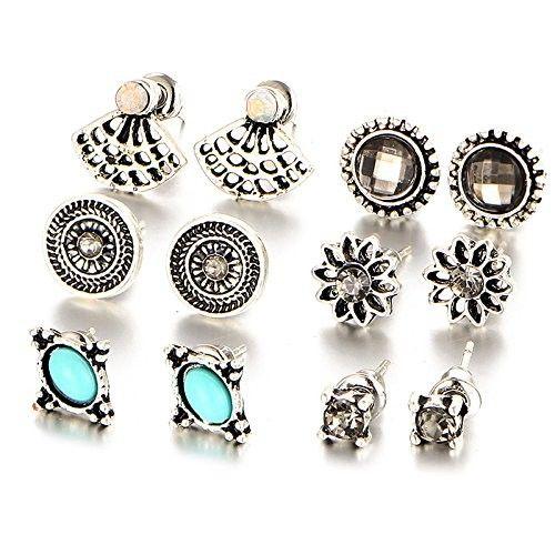 Wivily Retro Rhinestone Turquoise Beautiful Stud Earings Set for Women Girls (6 Pairs)