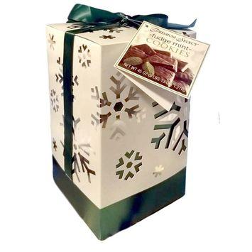 Premium Select Chocolate Fudge Mint Cookies in Decorative Snowflake Box 2 Pounds 13 Ounces
