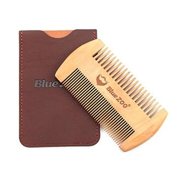 Wooden Beard Comb & Case, Dual Action Fine & Coarse Teeth, Perfect for use with Balms and Oils, Top Pocket Comb for Beards & Mustaches By Lotus.flower