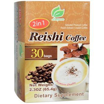 Longreen Corporation, 2 in 1 Reishi Coffee, Reishi Mushroom & Coffee, 30 Bags, 2.3 oz (65.4 g) Each
