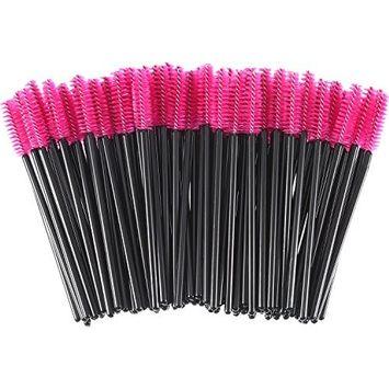 eBoot 300 Pieces Colored Disposable Mascara Wands Eyelash Eye Lash Brush Makeup Applicators Kit (Black Handle, Rose Red Head)