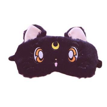 Fluffy Cat Face Sleep Eye Mask Moon Decor Eye Shade Blindfold for Home Travel Rest