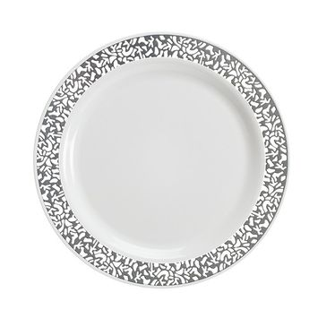Disposable Plastic Plates | Premium Quality White & Silver Dinnerware With Silver Lace Rim | Excellent for Weddings, Baby & Bridal Showers, Parties & More | Heavy Duty 9 Inches Plate | 40 Count