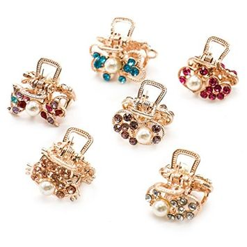 IDS 12 Pieces Mini Hair Clips Metal Crystals Rhinestones Hair Claws Pins Clamps for Girls and Women