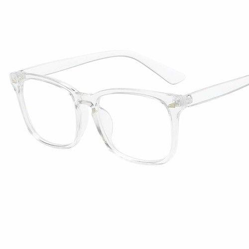 💗Shaoshao💗 _Blue Light Blocking Glasses Square Nerd Eyeglasses Frame Anti Blue Ray Computer Game Glasses (B)