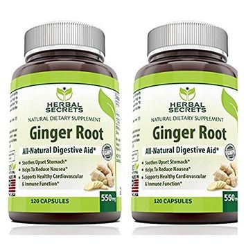 Herbal Secrets Ginger Root Supplement - 550 mg Capsules - Easy to Swallow Capsule-2 Pack