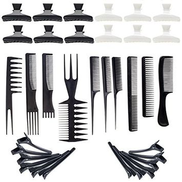 Hairstyling Hair Styling Set of 24pcs Clasps Clips Clamps Barrettes Grips and 10pcs Different Combs