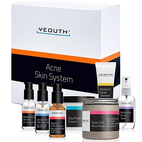 YEOUTH Acne Kit 7 Pack -Pimple,Blackhead,Whitehead,Vitamin C Facial Cleanser,Balancing Toner for Face,Vitamin C & E Serum,Retinol 2.5% Serum,Day Night Snail Cream,Salicylic Acid Peel,Dead Sea Mud Mask