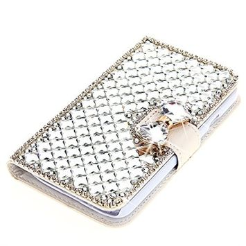 Samsung Galaxy A6 Plus 2018 Case, Scheam Leather Case 3D Diamond Bling Shining Case Wallet Case Credit Card Slot Kicktand Flip Cover Shockproof Protective Case for Galaxy A6 Plus 2018 (White)